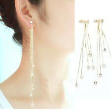 Fashion Beauty Chain Gold Silver Long Tassel Earrings For Women Crystal Charm