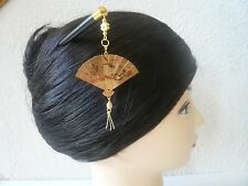 "Japanese Handmade Gold-tone Folding ""Sensu"" Fan Kanzashi Wood Hair Stick"