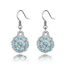 Shamballa Style Sky Blue Crystal Disco Ball Drop Dangling Earrings E110B