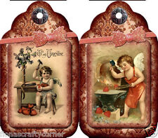 """12 """"VALENTINE'S DAY"""" CHILDREN CHERUB HANG / GIFT TAGS FOR SCRAPBOOK PAGES (25)"""