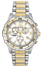 NEW CITIZEN ECO DRIVE WOMEN'S SPORTS CHRONOGRAPH TWO TONE WATCH FB1354-57A