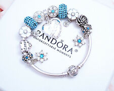 Authentic Pandora Silver Bangle Bracelet with European charms Crystal Love.