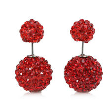 SEXY SPARKLES Clay Earrings Double Sided Ear Studs Round Pave Red Rhinestone W/