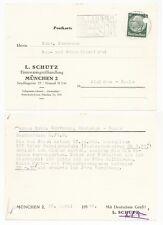 MÜNCHEN, Postkarte 1940, L. Schütz Eisenwarengroßhandlung