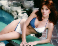 TANYA ROBERTS CHARLIE'S ANGELS 8X10 PHOTO BLUE & WHITE BIKINI BY POOL