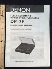 Denon DP-7F Turntable Original Owners Manual 7 Pages Dp7f Record Player A17