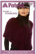 Patons SCARF = PONCHO Knitting & Crochet Pattern Booklet #500820 for Women