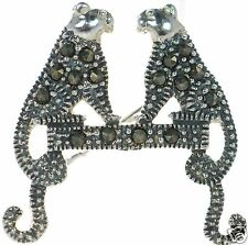 Solid 925 Sterling Silver Marcasite Cat Pin Brooch '