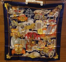 Hermes Paris Automobile Blue French Silk Scarf Foulard Joachim Metz 90cm/ 35 in
