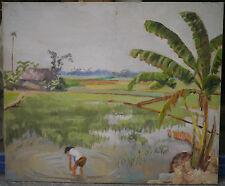 Tableau Ancien Huile Paysage Rizière Asie Chine ou Vietnam IVANE MARCHEGAY 1930