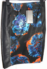 ZARA BLACK FAUX LEATHER PU PANEL FLORAL SKIRT M MEDIUM BNWT UK 12