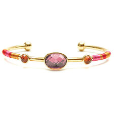 "NEW HIPANEMA Gold/Pink ""VALMY"" Gem Stone Bangle Bracelet -SALE"
