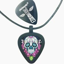 GUITAR PICK Necklace - Pickbandz PICK HOLDER in Black w/ Sugar Skull Guitar Pick