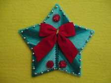 Green Star Christmas Magnet w/Red Bow Red Pom Poms Gold Beads Plastic Canvas