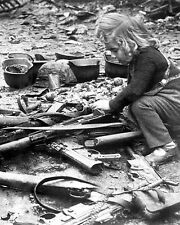 WWII Photo German Child Plays in Debris Berlin 1945  WW2 B&W World War Two /2182