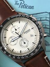 Fossil CH3023 Mens Sport 54 Brown Leather Silver Tachymeter Chronograph Watch