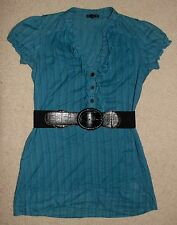 F.A.N.G Blue Short Sleeve Above Knee Striped Dress With Black Belt Size Small