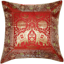 "17"" Red Handmade Cushion Cover Pillow Toss Silk Brocade Elephant Throw India"