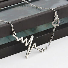 Fashion Womens Gold Silver Heart Beat Pendant Necklace Stainless Steel Chain