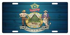 MAINE State Flag  Custom License Plate State Emblem WOOD Version