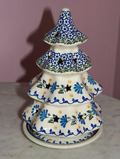 Ceramica Artistica Polish Pottery Christmas Tree Tea Light! Christmas Blues!