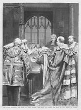 DUKE OF YORK Taking His Seat in the House Of Lords - Antique Print 1892