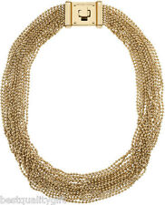 NEW-MICHAEL KORS GOLD BRILLIANCE MULTI-STRAND BEAD NECKLACE+TURN LOCK MKJ2204