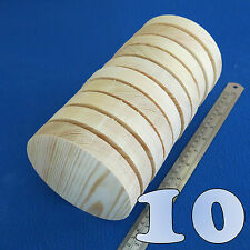 "LOT of 10 CIRCLE 5.0"" / 130 mm WOODEN BLOCKS BUNDLE SET PINE WOOD NATURAL DISCS"