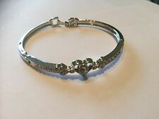 silver  bracelet with love heart and cz stones new for 2016 Handmade Stunning