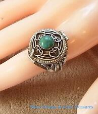 Vintage Sterling Silver Turquoise Poison Ring Size 7.5