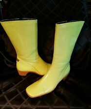 NICE! GREEN PATENT LEATHER AQUATALIA BY MARVIN K ZIPPER Mid-calf BOOTS WOMEN'S 8
