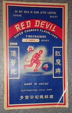 large vintage Red Devil fire cracker label
