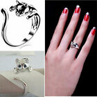Exquisite Jewelry Womens Cute Silver Plated Cat Shaped Ring With Crystal Eyes FT
