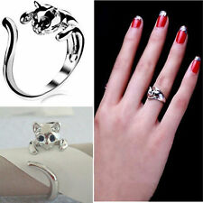 Pop Exquisite Jewelry Womens Silver Plated Cat Shaped Ring With Crystal Eyes