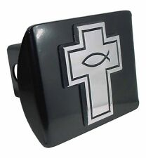 Cross with Christian Fish on Black Hitch Cover Quality Made in the USA! (NEW)