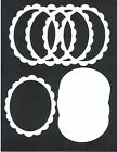 White SCALLOP OVAL Set of 5 Sizzix Die Cut Picture / Photo Frames Scrapbooking
