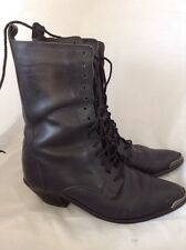 Women's Dingo Black Leather Roper Boot High Ankle Witch Lace Up Size 7M