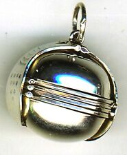 925 Sterling Silver 6 Photo Ball Plain Fob Locket 32mm weighs approx 18+ gram