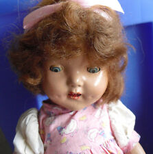 "Vintage 1930s Composition Brown Hair Character Girl Doll 16"" Tall"