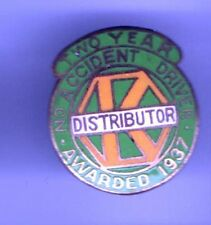 1937 Mini Badge KRAFT Foods Distributor pin No accident Driver Two Year
