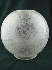 ANTIQUE FOLIATE DESIGN FULLY ETCHED GLASS GLOBE DUPLEX OIL LAMP SHADE