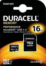 DURACELL 16GB Micro SDHC Memory Card Class 10 UHS-I U1 80MB/s 10MB/s for Phones