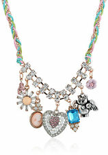 BETSEY JOHNSON 'Vintage Bows' Heart Flower Gem Angel Kitty Cat Charm Necklace