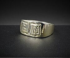 James Avery Rare Retired Sterling Silver Vermeil Greek Key Ring Size 7 RS1324