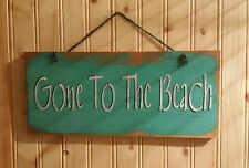 """Gone To The Beach Rustic Wood Sign 5 1/2"""" x 12"""" Wall Hanging"""