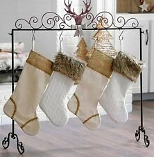 Pretty Glitter Rustic Christmas Cabin RV Deer Woodsy Holds 6 stocking HOlder