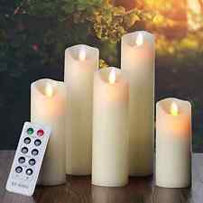 Ry king Flameless Candles Classic Pillar Real Wax Dancing Flame Set of 5