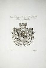 1816 Wappen Kupferstich Tyroff Sachsen-Coburg-Saalfeld Lichtenberg