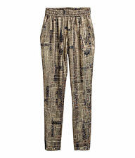 ISABEL MARANT H&M Metallic Gold Silk pants trousers light Elastic Waist XS 34 FR