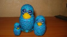 AUTHOR's 3pc hand painted russian animal nesting dolls matryoshka BIRDS FAMILY